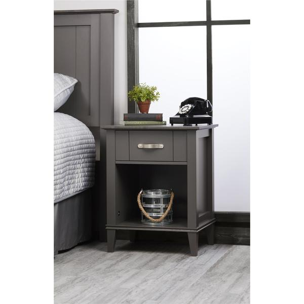 Strick & Bolton Diletta Dark Grey Two-tone Nightstand