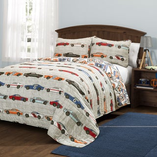 Lush Decor Race Cars Print 3-Piece Quilt Set (2 options available)