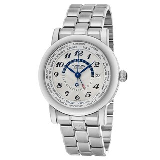 Mont Blanc Men's 109286 'Star' Silver Dial Stainless Steel Bracelet World cities GMT Swiss Automatic Watch