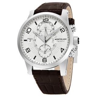 Mont Blanc Men's 109134 'Timewalker Twin Fly' Silver Dial Brown Leather Strap Dual Time Swiss Automatic Watch|https://ak1.ostkcdn.com/images/products/12466762/P19274495.jpg?impolicy=medium