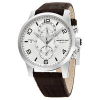 Mont Blanc Men's 109134 'Timewalker Twin Fly' Silver Dial Brown Leather Strap Dual Time Swiss Automatic Watch