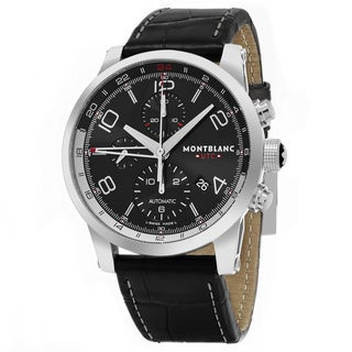 Mont Blanc Men's 107336 'Timewalker' Black Dial Black Leather Strap GMT Chrono Voyager UTC Swiss Automatic Watch