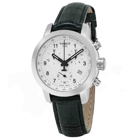 Tissot Women's 'PR 100' Silver Dial Grey Leather Strap Chronograph Swiss Quartz Watch