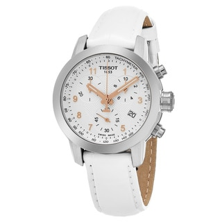 Tissot Women's T055.217.16.032.01 'PR 100' Silver Dial White Leather Strap Chronograph Swiss Quartz Watch