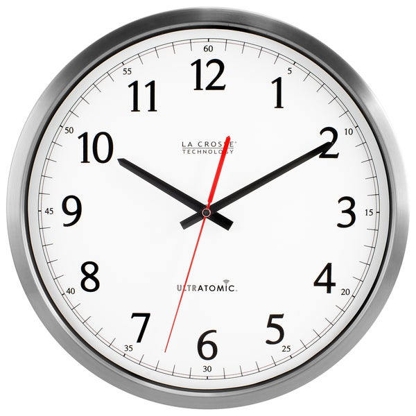 la crosse technology stainless steel ultratomic analog wall clock free shipping today. Black Bedroom Furniture Sets. Home Design Ideas