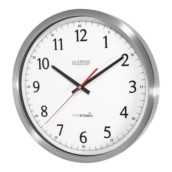 la crosse technology 404 1235ua ss 14 inch ultratomic stainless steel analog wall clock free. Black Bedroom Furniture Sets. Home Design Ideas