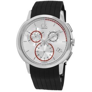 Calvin Klein Men's K1V27926 'Drive' Silver Dial Black Rubber Strap Chronograph Swiss Quartz Watch