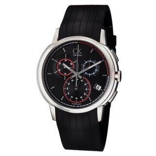 Calvin Klein Men's K1V27704 'Drive' Black Dial Black Rubber Strap Chronograph Swiss Quartz Watch