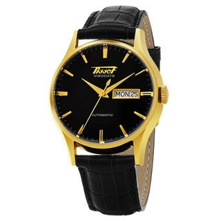 Tissot Men's T019.430.36.051.01 'Viso Date' Black Dial Black Leather Strap Day Date Goldtone Swiss Automatic Watch