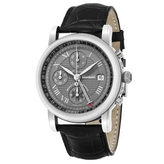 Mont Blanc Men's 101637 'Star' Grey Dial Black Leather Chronograph Swiss Automatic Watch