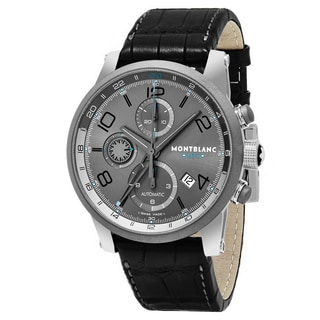 Mont Blanc Men's 107339 'Timewalker' Grey Dial Black Leather Strap GMT Chrono Voyager UTC Swiss Automatic Watch