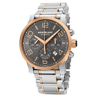 Mont Blanc Men's 107321 'Timewalker' Grey Dial Stainless Steel 18k Rose Gold Chronograph Swiss Automatic Watch
