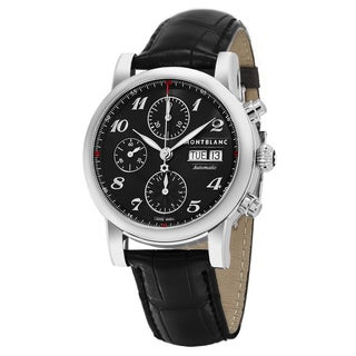 Mont Blanc Men's 106467 'Star' Black Dial Black Leather Chronograph Strap Swiss Automatic Watch