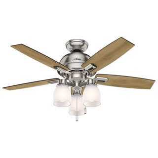 Hunter Fan Donegan Collection Brushed Nickel 44-inch Ceiling Fan with 5 Distressed Oak/Dark Walnut Reversible Blades
