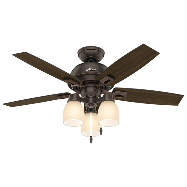 "Hunter 44"" Donegan Ceiling Fan with LED Light Kit and Pull Chain - Onyx Bengal"