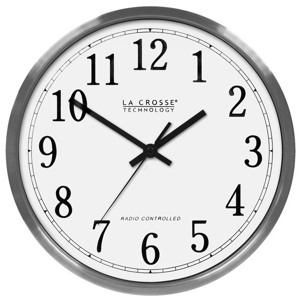 La Crosse Technology 12-inch Silver-colored Stainless Steel Atomic Analog Wall Clock