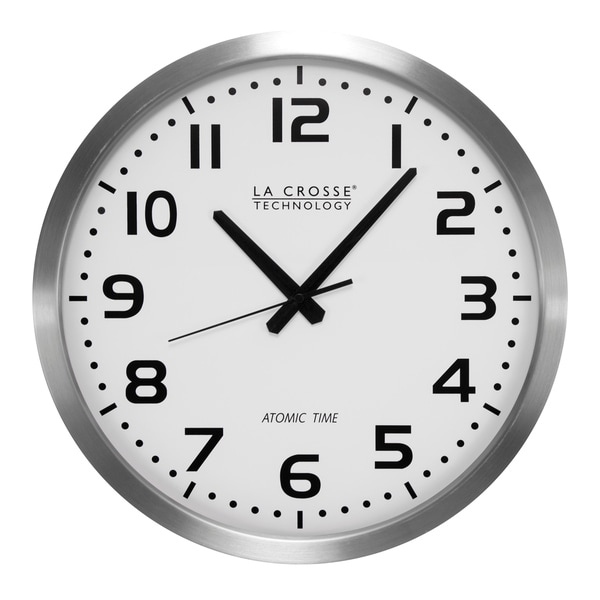 La Crosse Technology WT-3161WH Stainless Steel 16 In. Analog Atomic Clock