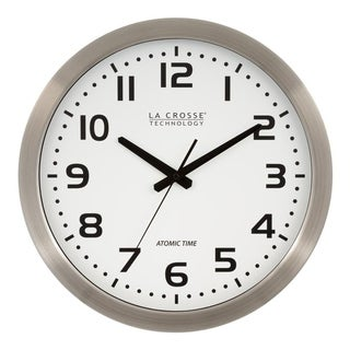 La Crosse Technology WT-3161WH White Dial Stainless Steel 16-inch Analog Atomic Clock