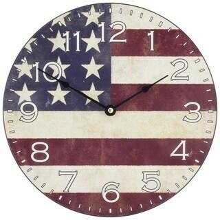 La Crosse 404-2631F Wood/Plastic 12-inch American Flag Wall Clock