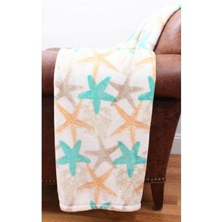 Thro by Mario Lorenz Daryl Multicolored Velvet Plush Fleece Starfish Decorative Throw