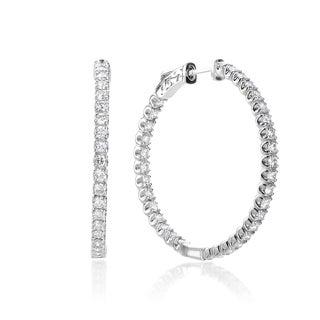 SummerRose 14k White Gold 2 5/8ct TDW Diamond Hoop Earrings