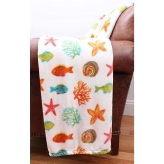 Bright Fish Multicolored Velvet Plush Decorative Throw Blanket