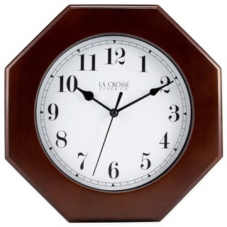 La Crosse Wood 9.5-inch Octagon Wall Clock
