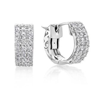 SummerRose 14k White Gold 5/8ct TDW Diamond Hoop Earrings