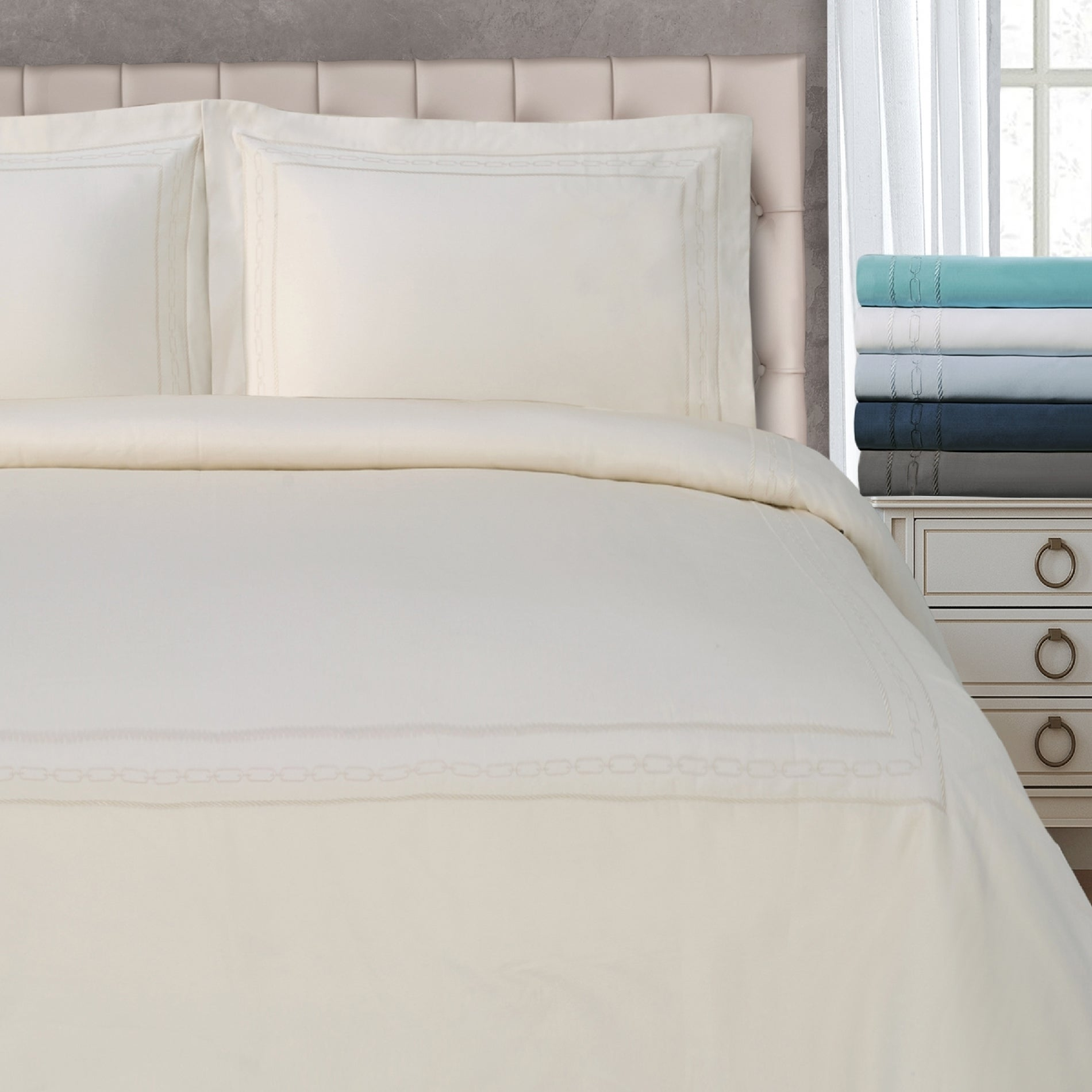 1500 Thread Count Duvet Cover Sets White Striped All Sizes Egyptian Cotton