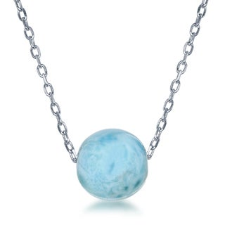 La Preciosa Sterling Silver Larimar Bead Necklace