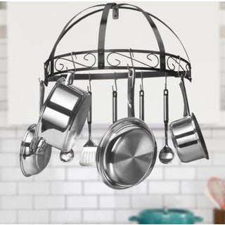 Kinetic GoGreen Classicor Black Enamel Wrought-iron Semi-circle Pot Rack