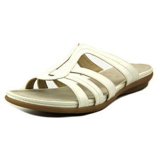 Kim Rogers Women's Amarey White Faux Leather Sandals