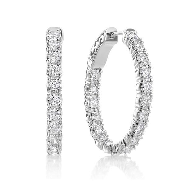 SummerRose 14k White Gold 2 3/4ct TDW Diamond Oval Hoop Earrings