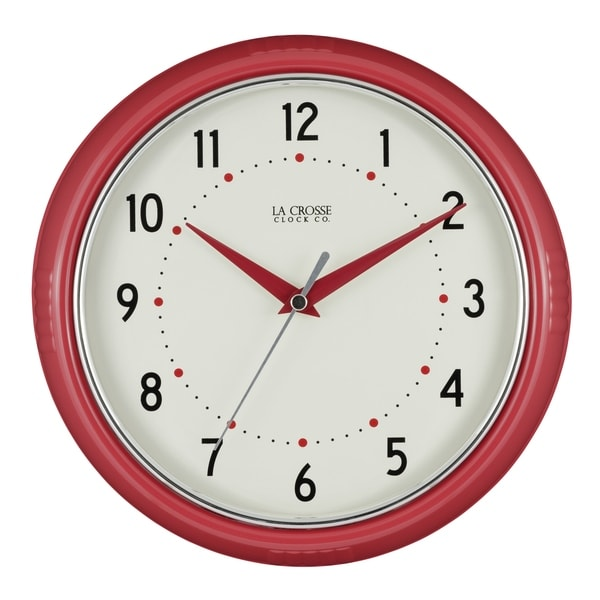 La Crosse Clock 404-2624R 9.5 Inch Red Retro Diner Analog Wall Clock