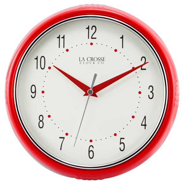 La Crosse Technology Retro Diner Red Round Analog Wall Clock