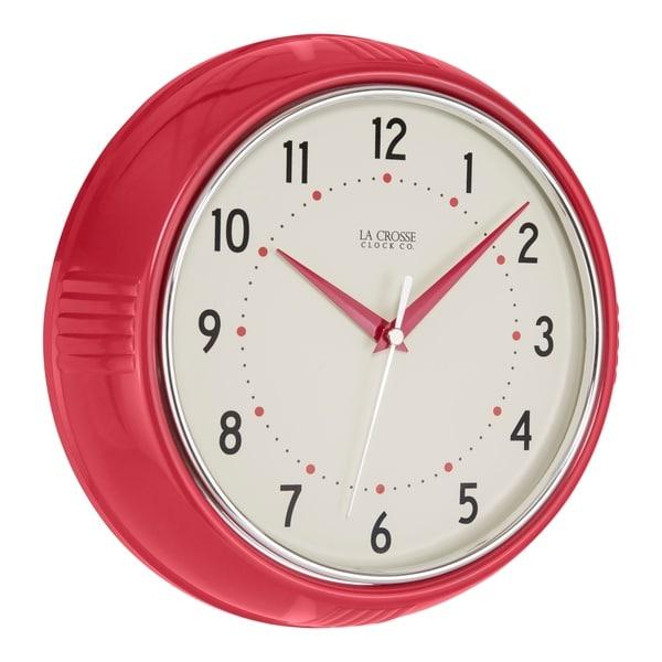 La Crosse Clock 404-2624R 9.5 Inch Red Retro Diner Analog Wall Clock