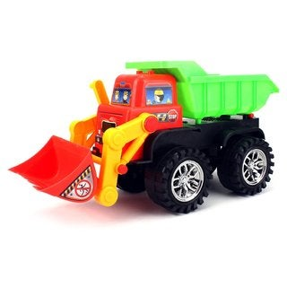 Velocity Toys Plastic Super Power 2-in-1 Construction Bulldozer and Dump Truck