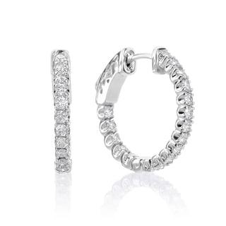 SummerRose 14k White Gold 1ct TDW Diamond Hoop Earrings