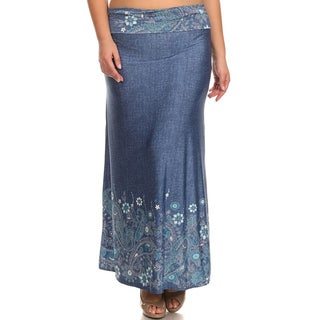 Women's Plus Size Denim Maxi Skirt