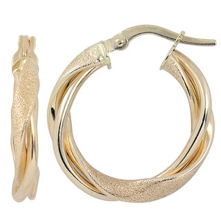Fremada Italian 14k Yellow Gold 3x15-mm High Polish and Textured Finish Twisted Hoop Earrings