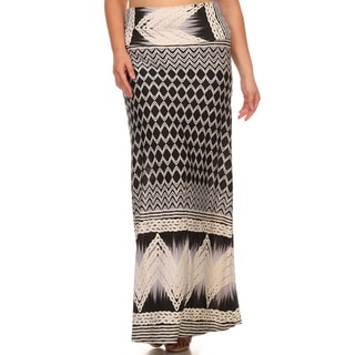 Women's Black-and-white Polyester/Spandex Plus-size Abstract Maxi Skirt