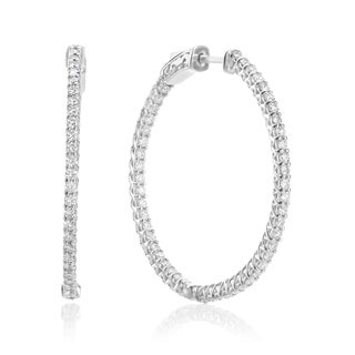SummerRose 14k White Gold 2ct TDW Diamond Hoop Earrings
