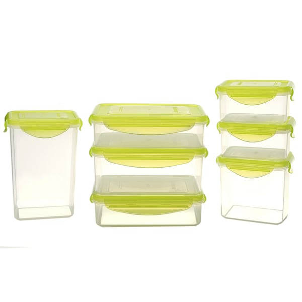 Kinetic GoGreen Green/Clear Plastic 14 Piece Rectangular Food Storage  Container Set With Lids