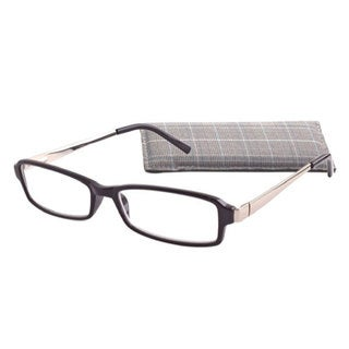 Icu Eyewear Square Black And Silver Reading Glasses