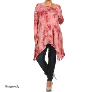 Plus Size Women's Red Polyester-blend Tie-dyed Tunic