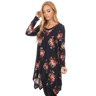 Women's Rayon/Spandex Floral Pattern Tunic
