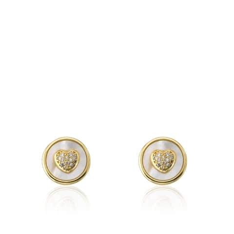 Little Miss Twin Stars Flower Girl 14k Goldplated Coin Pearl and Cubic Zirconia Heart Stud Earrings