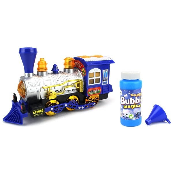 Velocity Toys Blue Bubble-blowing Steam Train Locomotive Engine Car