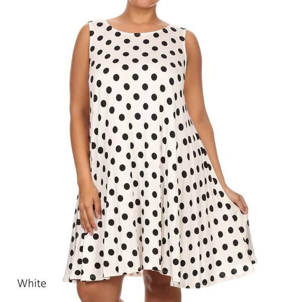 Shop Women\'s Plus Size Polka Dot Tank Top Dress - On Sale ...