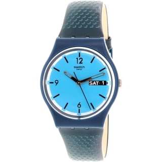 Swatch Women's Originals GN719 Blue Leather Swiss Quartz Watch